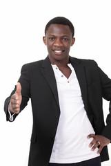 Handsome african man offering handshake
