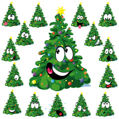 Christmas tree cartoon with star