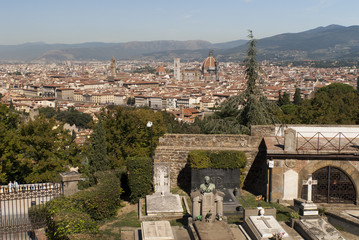 View of the city from San Minitao Church in Florence Italy
