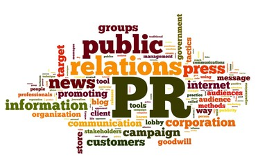 Public relations concept in tag cloud