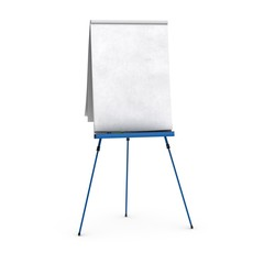 Blank flipchart. Paperboard vide sur blanc