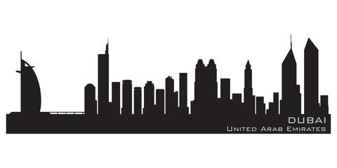 Dubai, Emirates skyline. Detailed vector silhouette