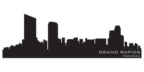 Grand Rapids, Michigan skyline. Detailed vector silhouette