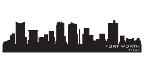 Fototapete - Fort Worth, Texas skyline. Detailed vector silhouette