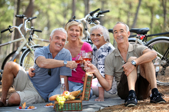 Two older couples enjoying a picnic in the woods