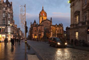 Edinburgh Roal Mile and St. Giles cathedrale. Scotland. UK.