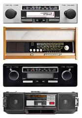 Old radio isolated on white, set