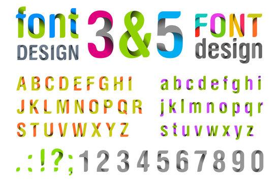 Font design. Ribbon Alphabet. vector.