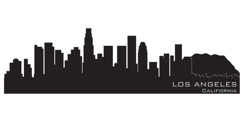 Wall Mural - Los Angeles, California skyline. Detailed vector silhouette