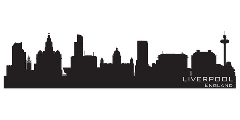 Fototapete - Liverpool, England skyline. Detailed vector silhouette