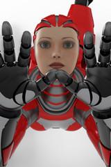 red cyborg legs up