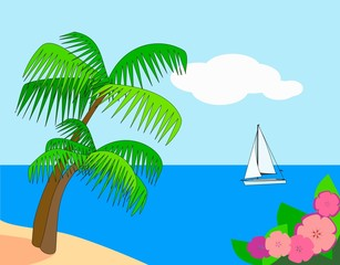 Palm trees , flowers  and a sailboat at sea