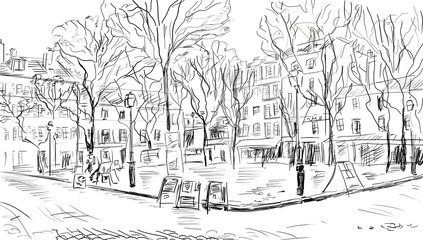 Photo sur Plexiglas Illustration Paris Street in paris - illustration