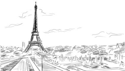 Poster Illustration Paris Eiffel Tower, Paris illustration