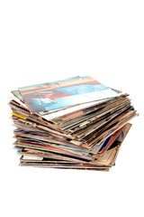 Pile of old vinyl records isolated on white background