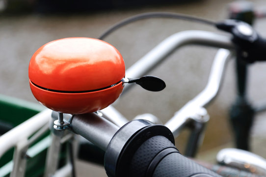 Orange bicycle bell
