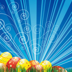 Easter background with colorful easter eggs over blue background