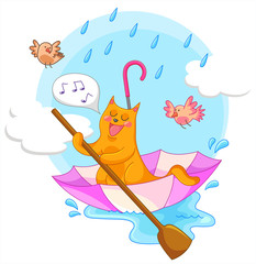 Wall Murals Birds, bees cat sailing in an umbrella and singing in the rain