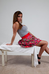 pretty woman sitting and leaning back