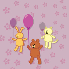 rabbit, bear and kitty walks with balloons