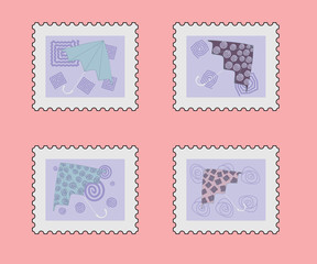 postage stamp set with umbrella