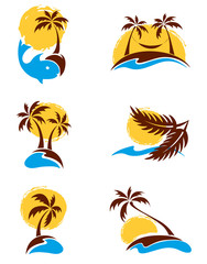 Set of logotypes - palm trees