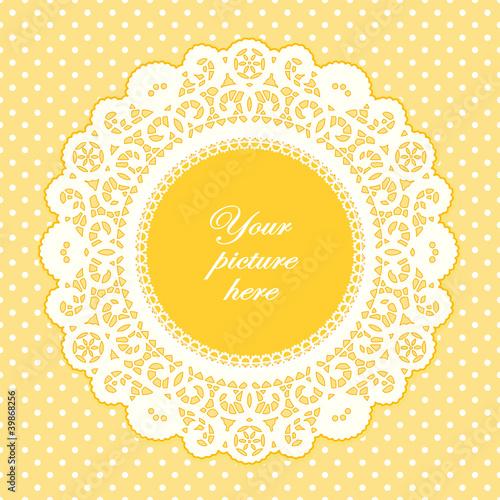quotvintage lace doily frame pastel yellow polka dot