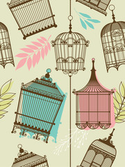 Wall Murals Birds in cages vintag pattern with birdcages