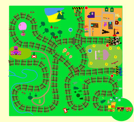 Train. fun children's maze of vector