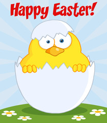 Happy Easter Text Above A Surprise Yellow Chick