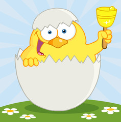 Happy Yellow Chick Peeking Out Of An Egg And Ringing A Bell