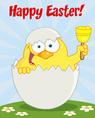 Happy Easter Text Above A Yellow Chick Peeking Out Of An Egg