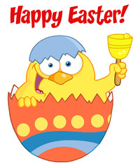 Happy Easter Text Above A Yellow Chick And Ringing A Bell
