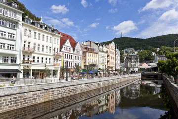cityscape of karlovy vary, czech republic