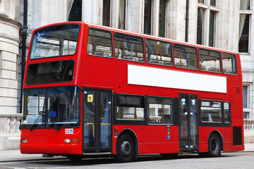 Fond de hotte en verre imprimé Londres bus rouge London Double decker red bus