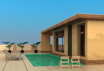 vacation home  with swimming pool. isolated on white