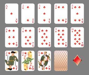 Playing cards - diamond suit. EPS 10 - contains transparences