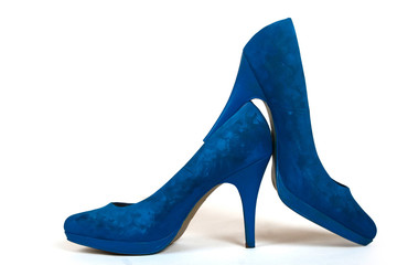 blue painted high heels shoes