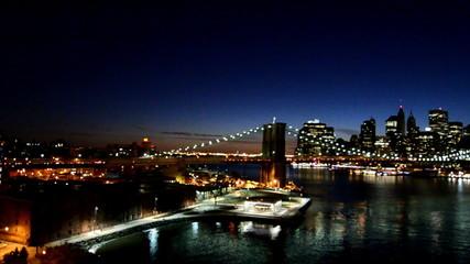 Wall Mural - New York City Skyline from Manhattan Bridge at Night