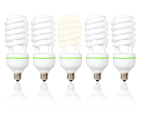 Five energy saving light bulbs with green lines