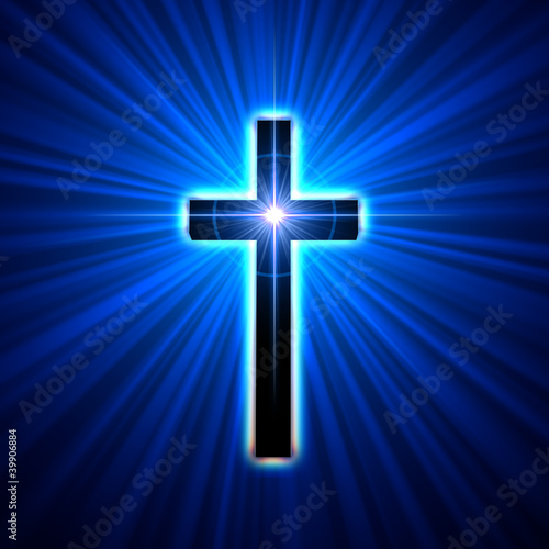 Wall mural glowing cross