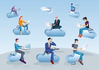 Cloud Computing Men Sitting In Clouds