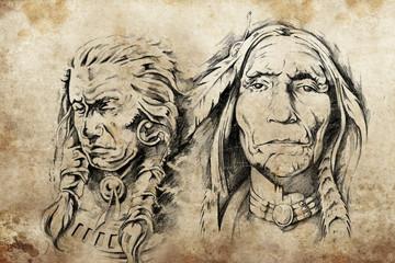 Fototapete - Tattoo sketch of American Indian elders