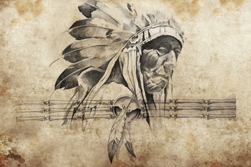 Wall Mural - Tattoo sketch of American Indian tribal chief warriors