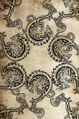 Wall Mural - Tattoo group of  dragons, ancient decoration