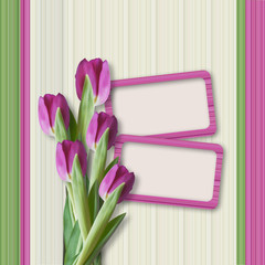 Retro greeting card with tulips