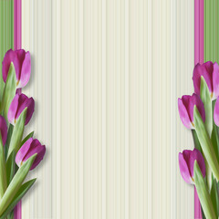 Greeting background with tulips