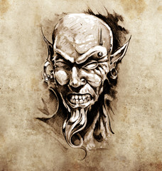 Wall Mural - Sketch of tattoo art, devil head with piercing