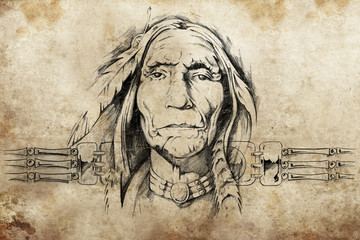 Wall Mural - sketch of American Indian elder