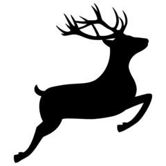 Springender Hirsch Rentier Silhouette Jagd Weihnachten